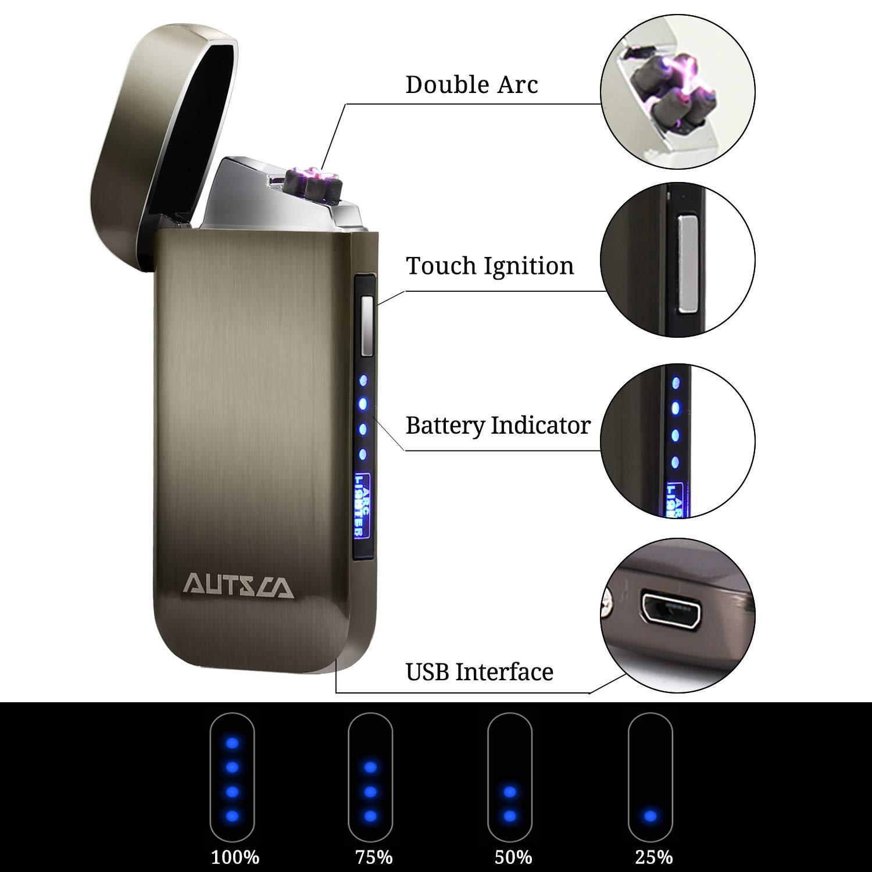 accendino USB doppio arco colore argento LED e touch